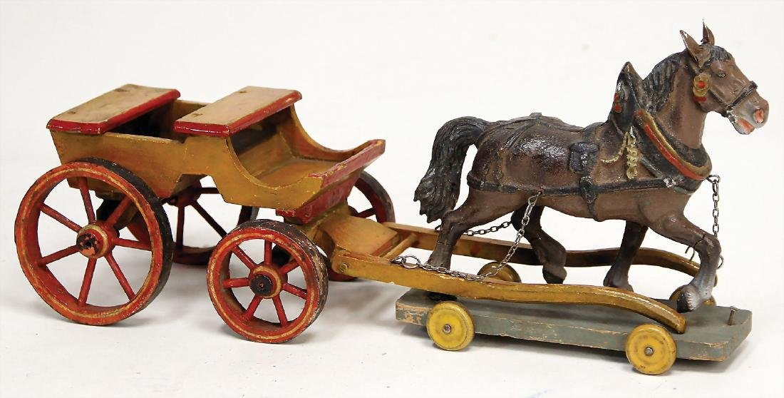 car, wood, with mass draft horse, probably '20s, 32 cm,