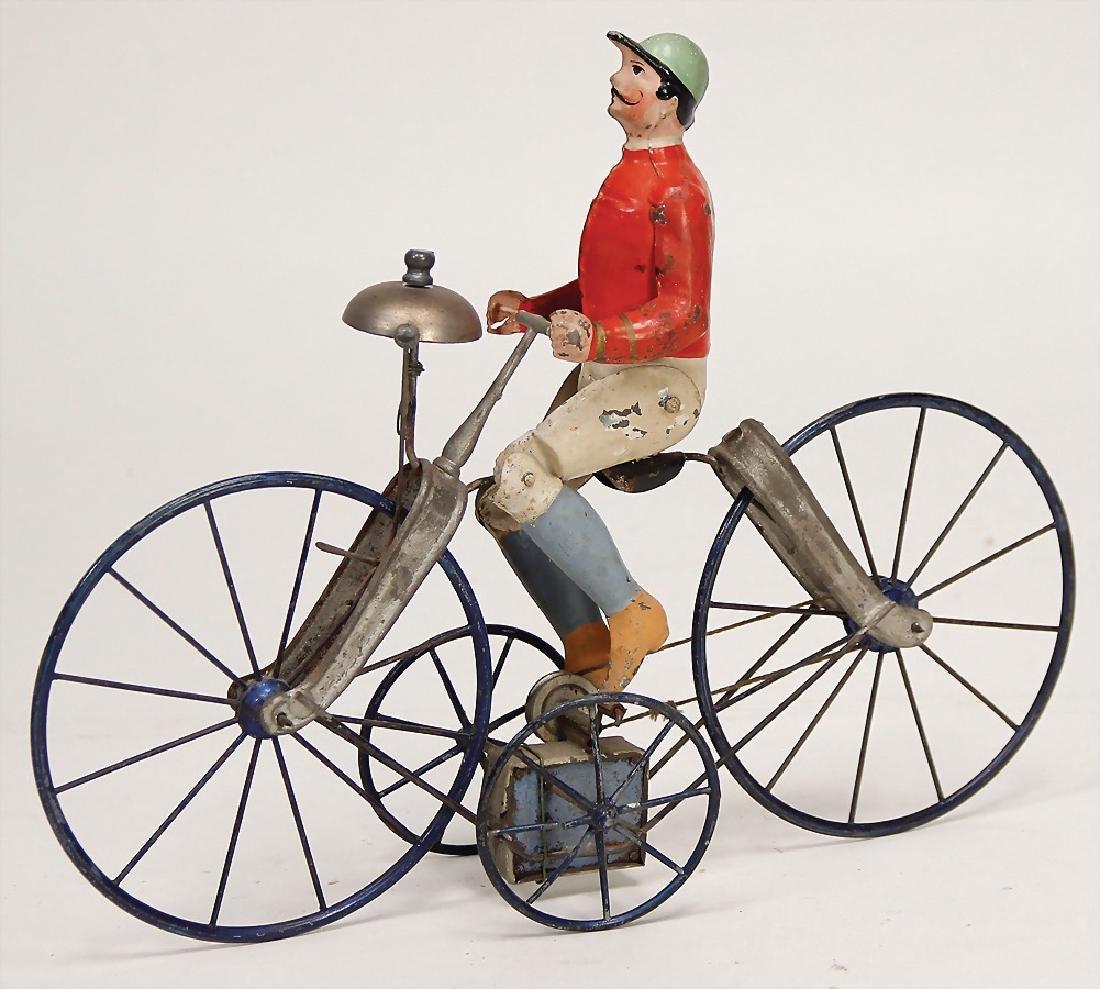 cyclist, handpainted sheet metal, around 1900, 30.5 cm, - 2