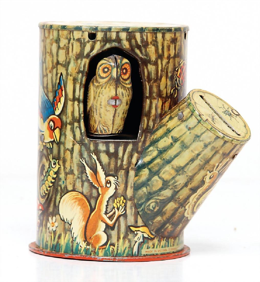 LBZ, money box, owl with tree,, lithographed sheet