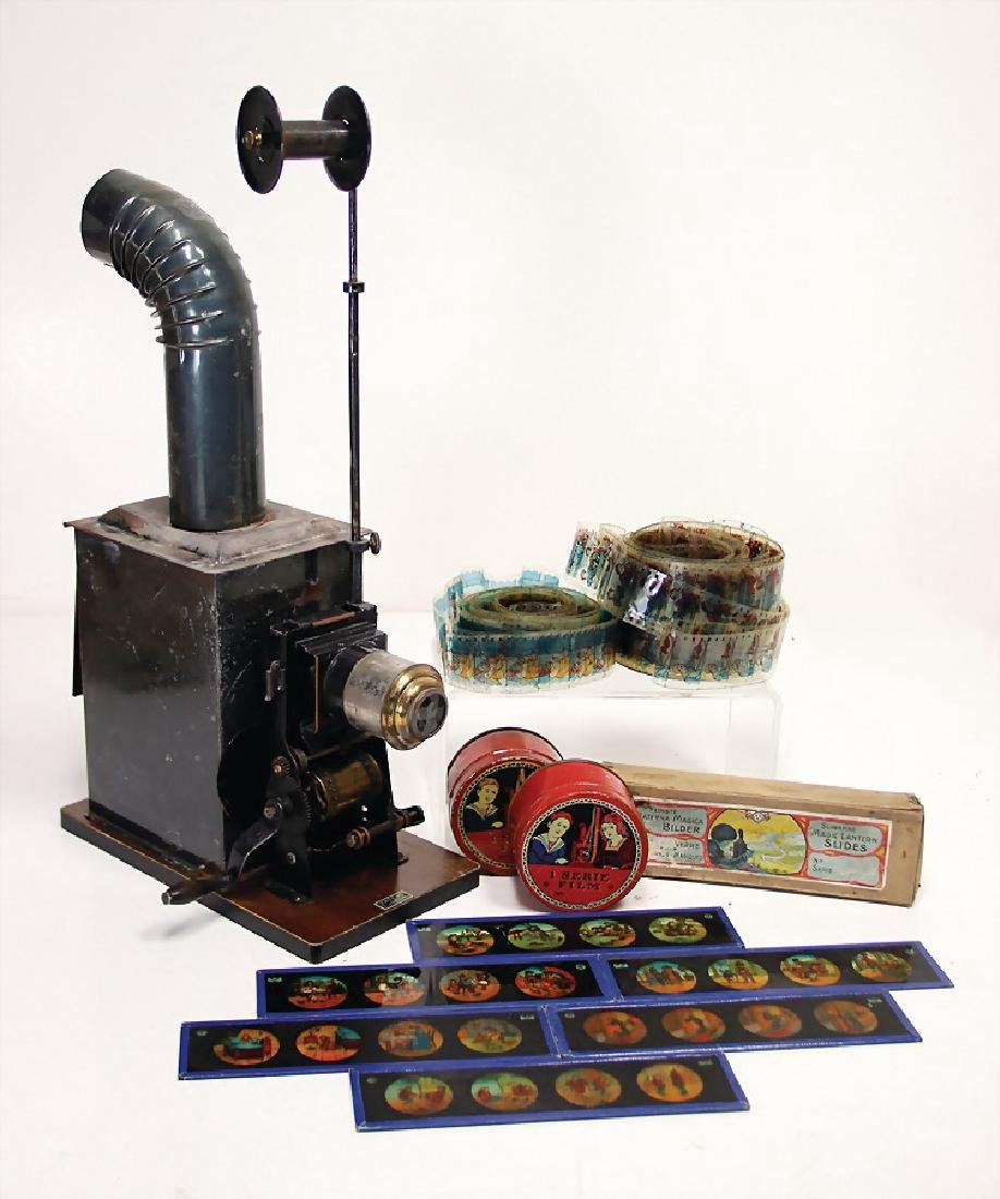 BING Laterna Magica, sheet metal, mounted on a wood