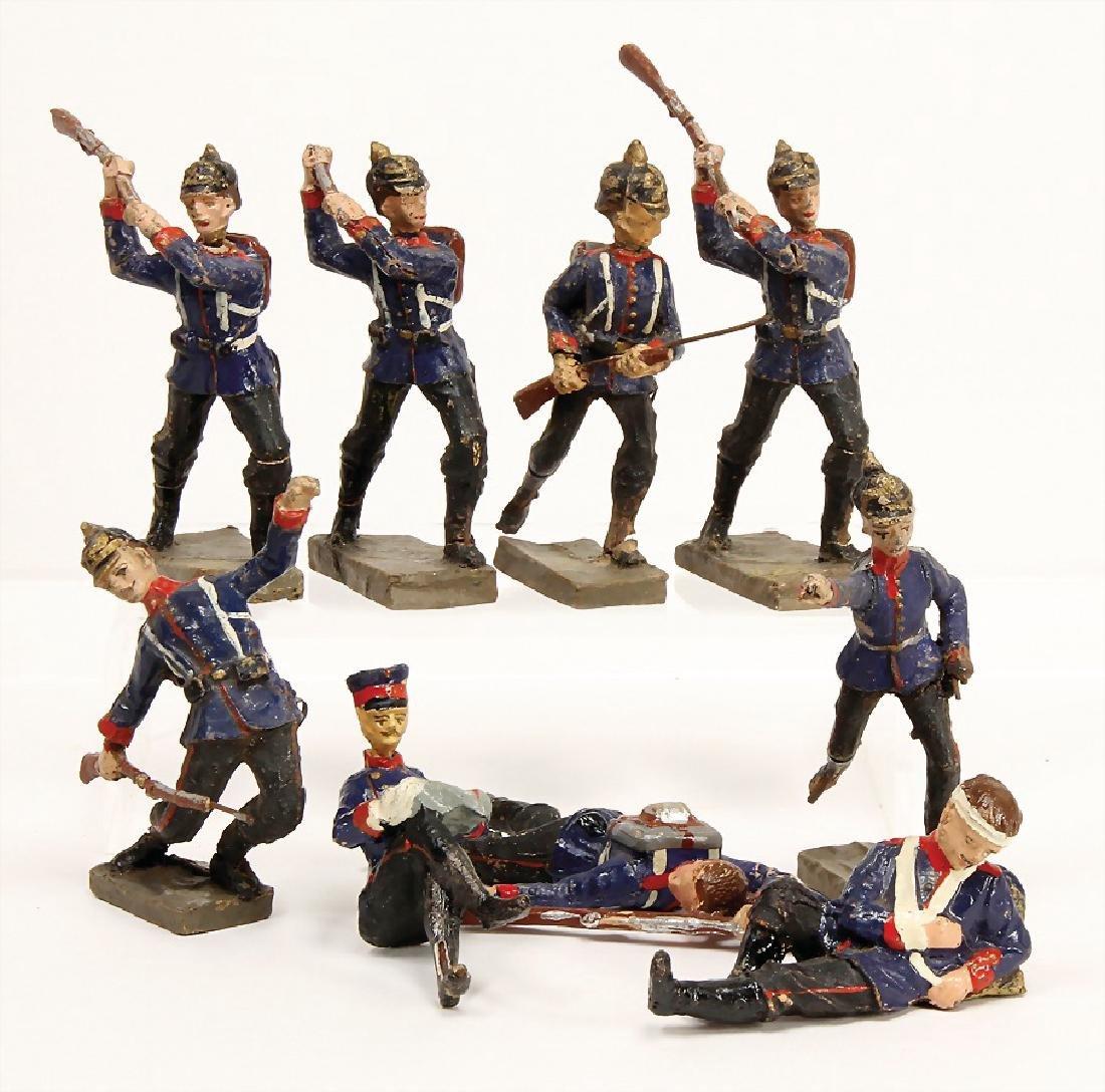ELASTOLIN 10 cm, mass, First World War, 9 pieces,
