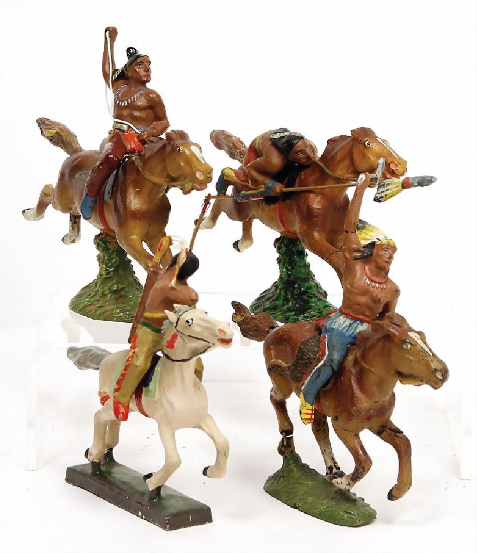 LINEOL 4 pieces Indian on horseback, 1 rider, horse is
