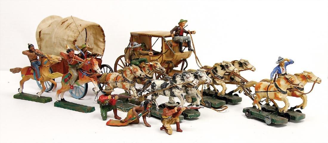 stagecoach, plastic, mass draught horses, 38 cm,
