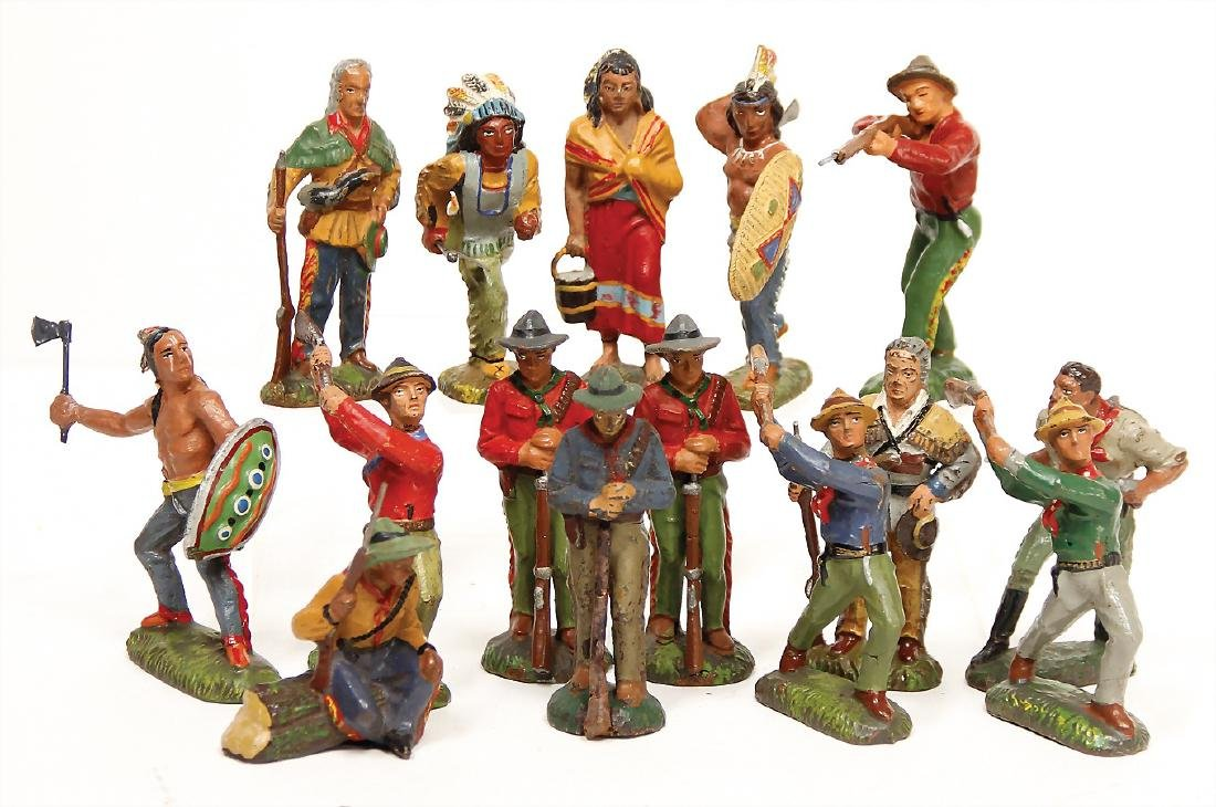 LINEOL 15 pieces trappers and  Indians, mass, 7.5 cm,