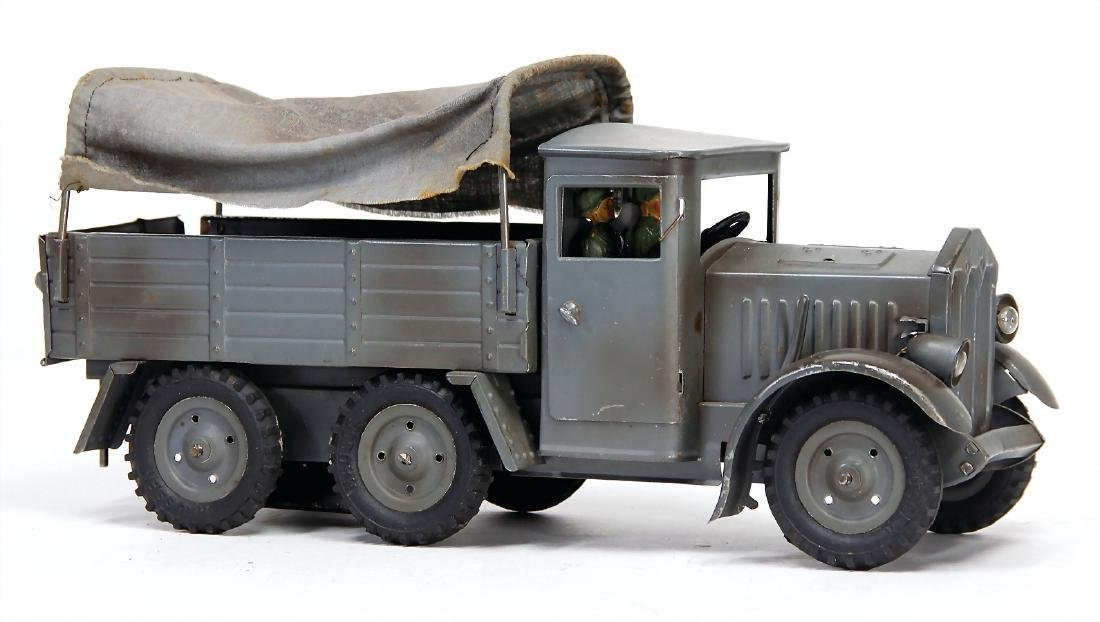 HAUSSER truck, 3-axled with tarpaulin, sheet metal, 30