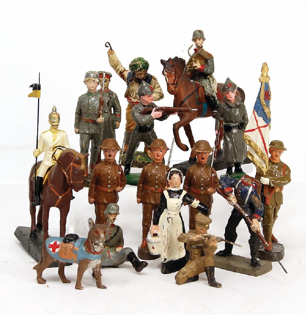 ELASTOLIN First World War, 9.5 - 10 cm, 3x marching, 1