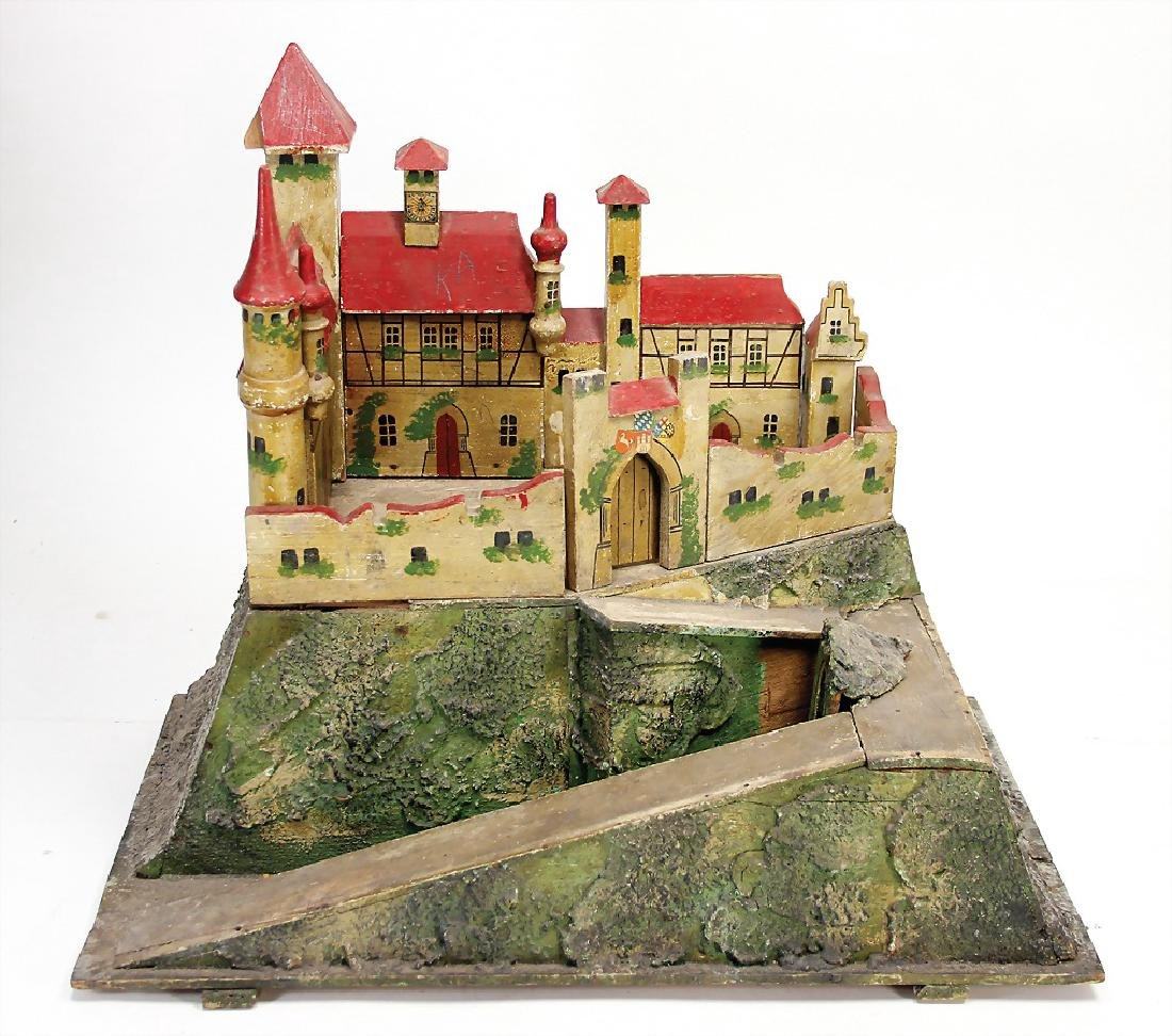 knight`s castle, wood, colored frame, outside with a