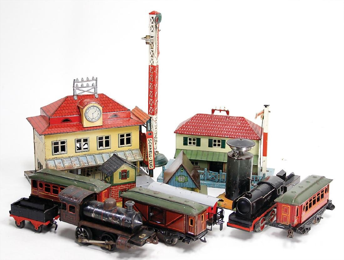 train mixed lot, Bing, Karl Bub and others, 2 stations,