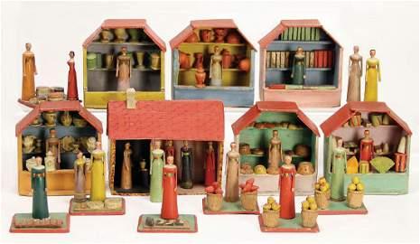 ERZGEBIRGE stand,around 1800, 7 stalls, bread- ,