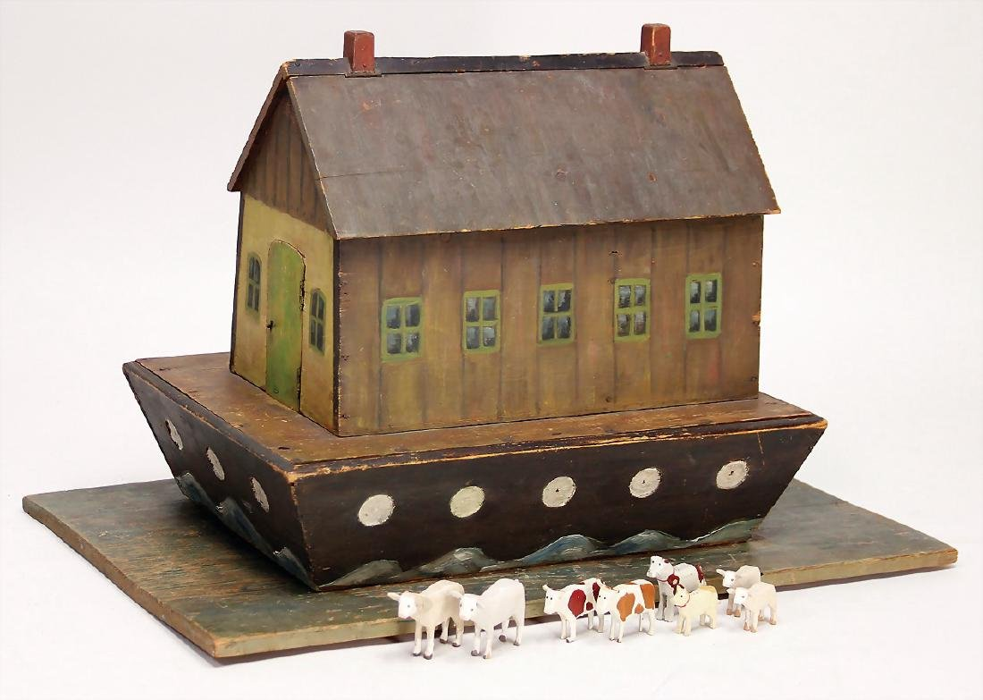 Noah`s ark, wood, colored frame, 40 cm long, with board