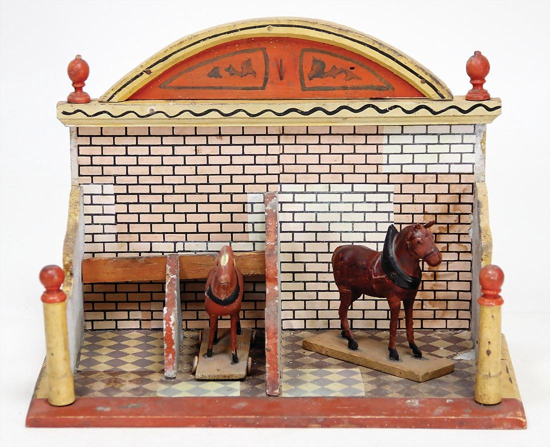 small stable, wood, 30 cm wide, partially slightly