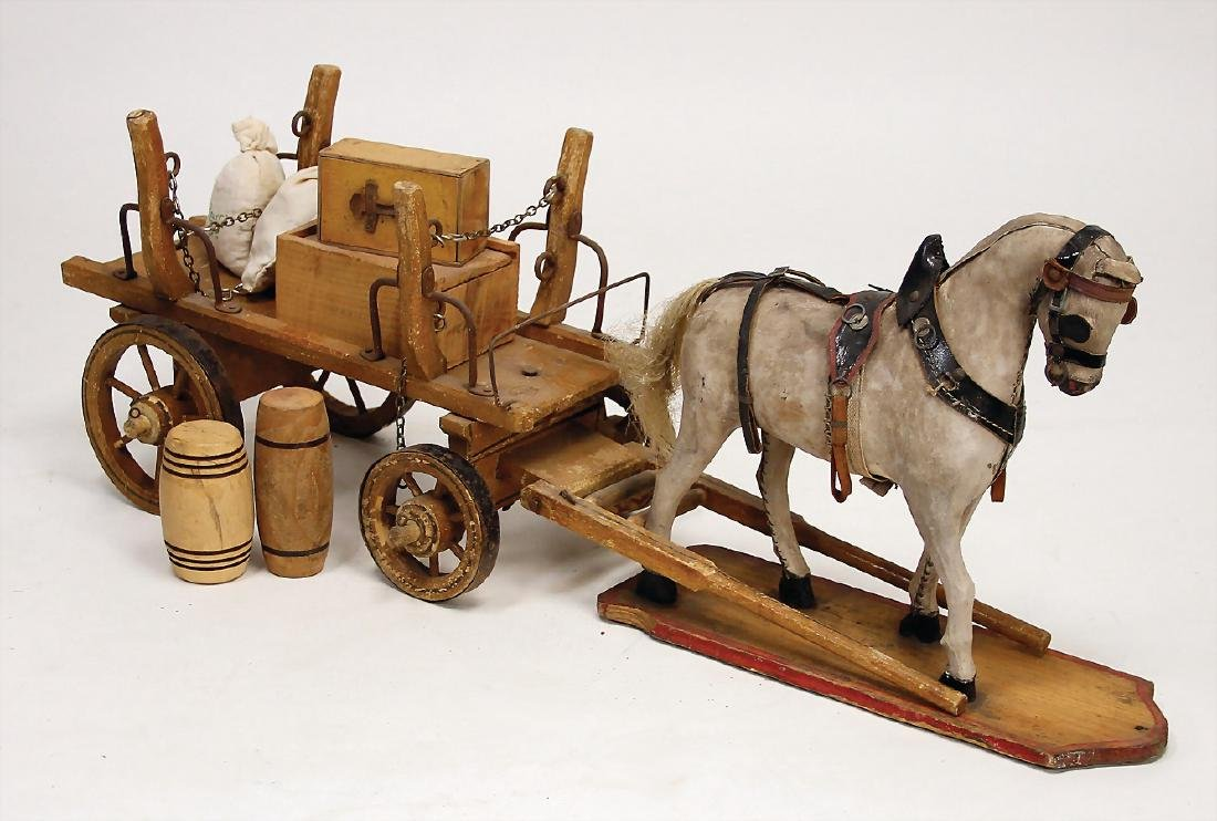draft horse, wood, pelt covered, pelt losing, original