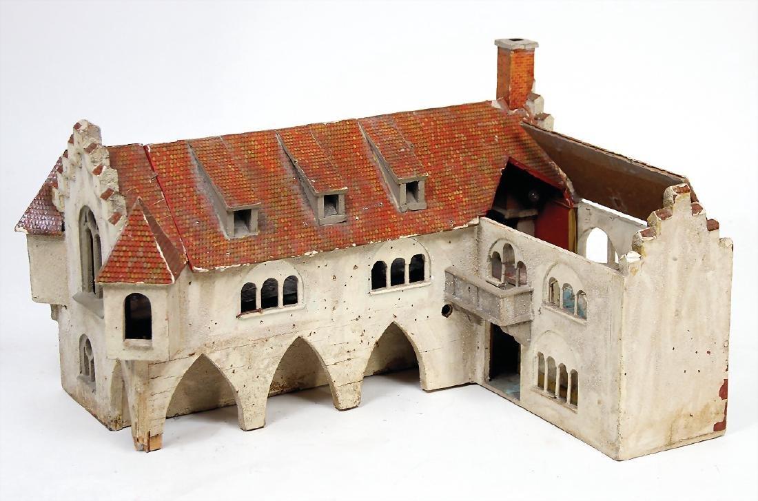 angular shaped building , 46 cm long, 37 cm deep, 28.5