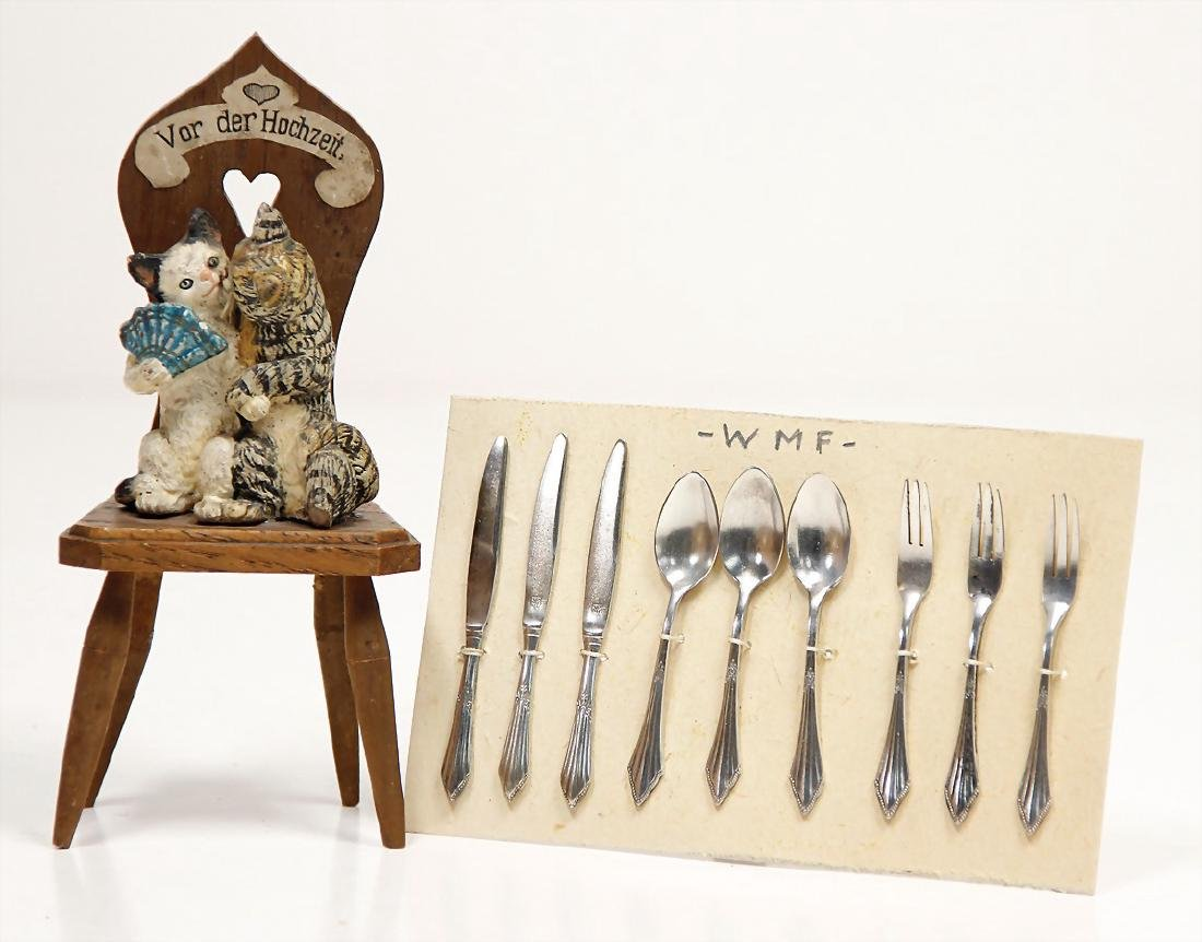 9-part WMF doll's cutlery, silver, (fan), with 1 wooden