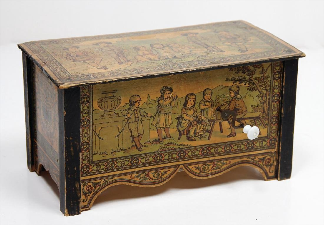 playing box, wood, stuck with lithographed paper,