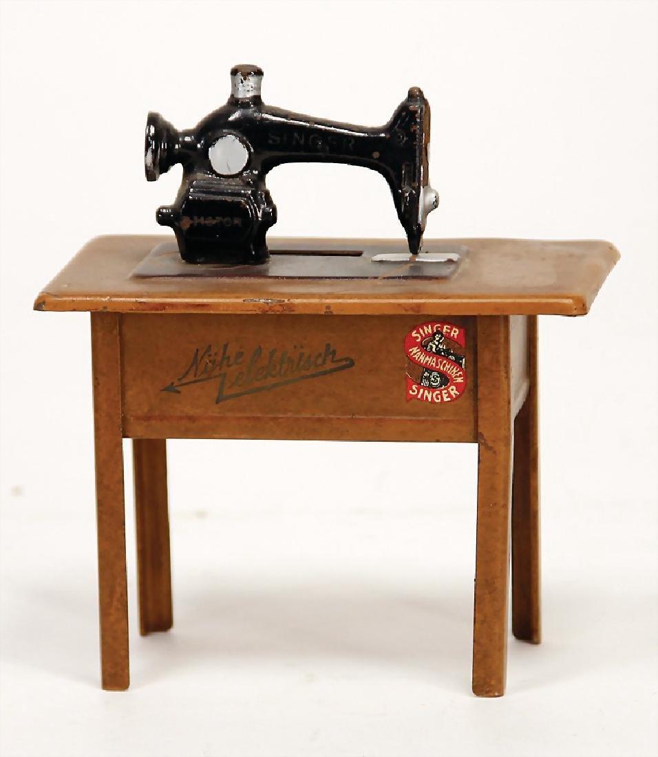 SINGER dollhouse sewing machine, money box, sheet