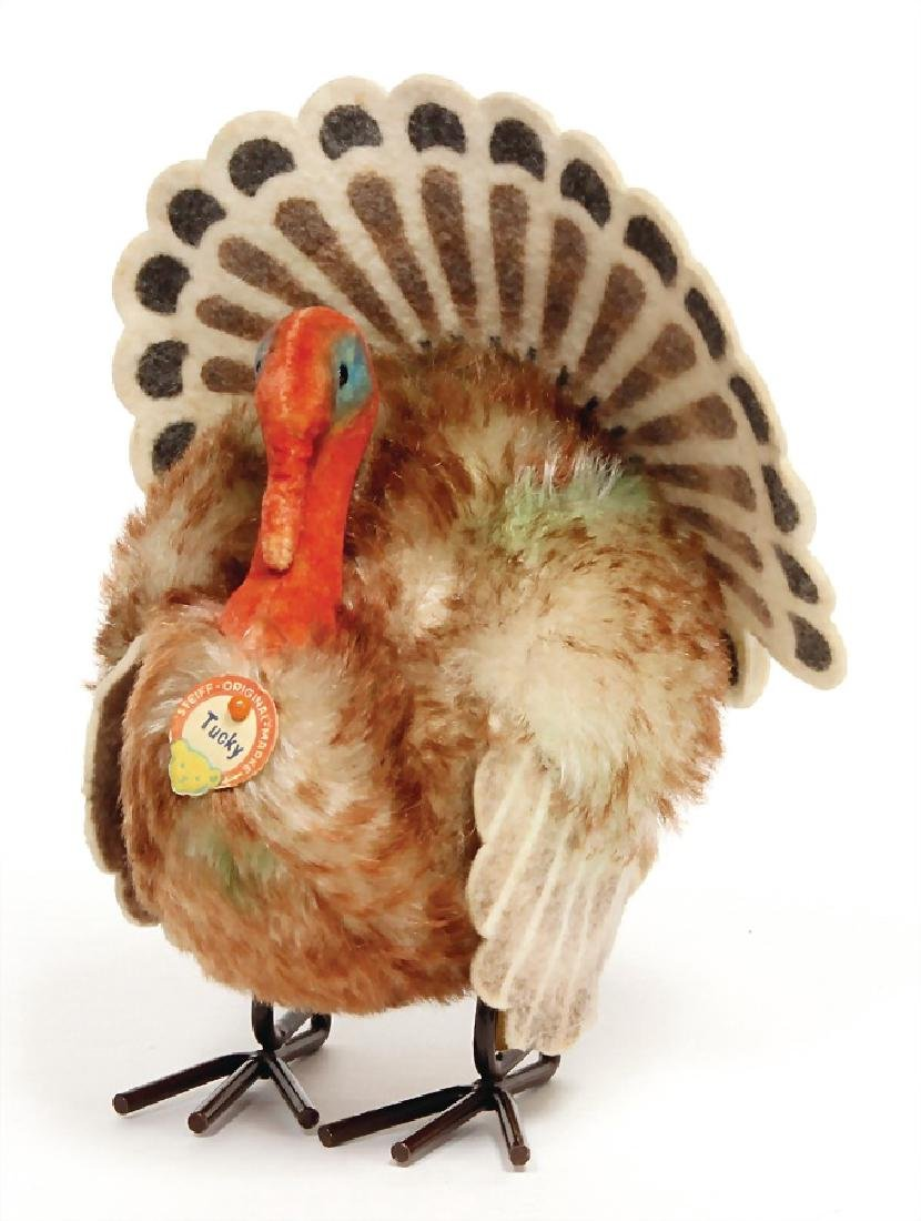 STEIFF turkey Tucky, button, chest label and  cloth tag