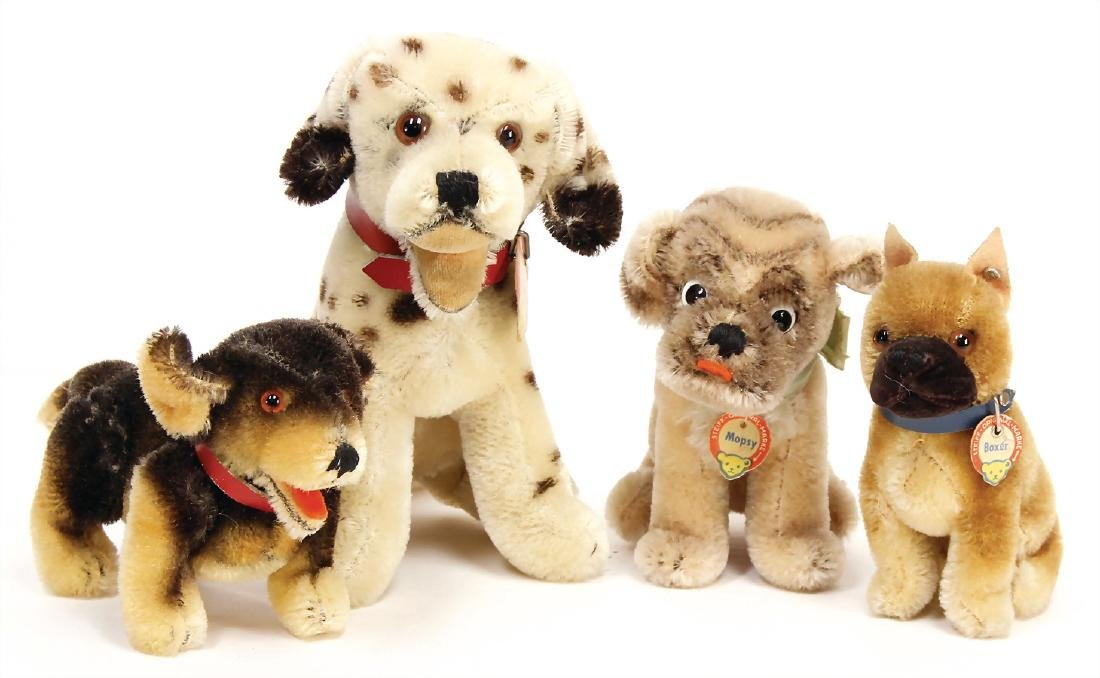 STEIFF 4 pieces, 1x Dally, sitting, dog, dalmatian,