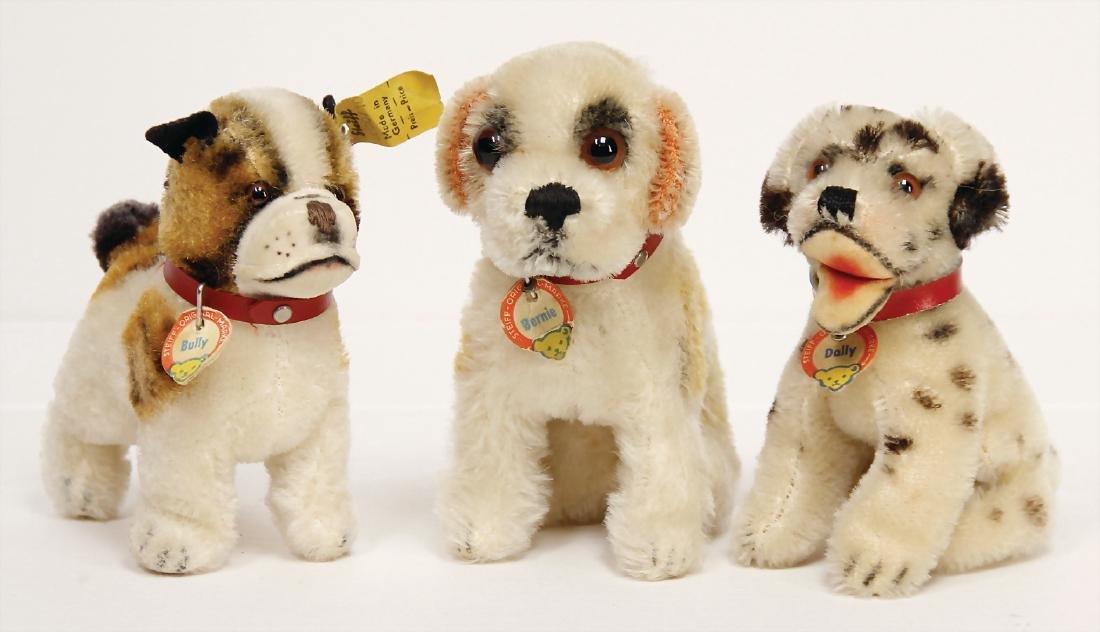 STEIFF 3 dogs, 1x Dally, sitting dalmatian, with breast