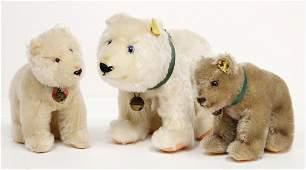 STEIFF 3 bears, 2x polar bear, 1x with button and