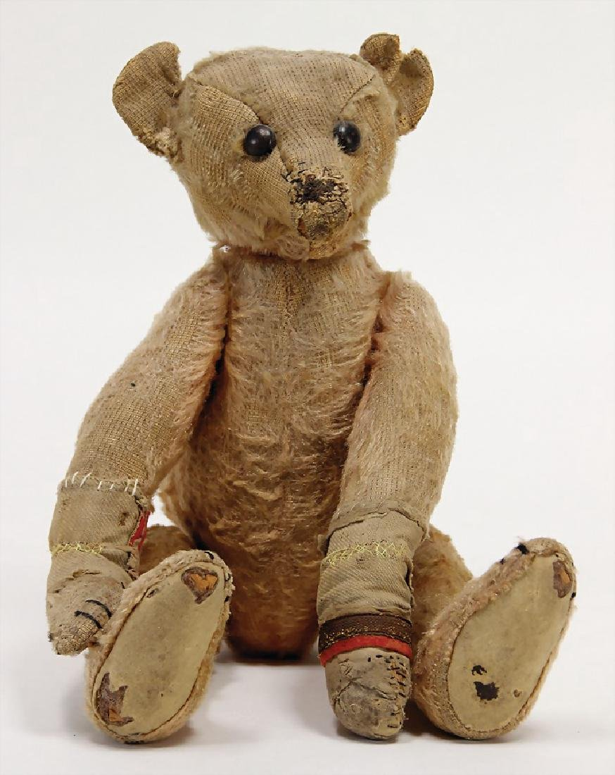 early bear, 42 cm, strongly used, shoe button eyes,