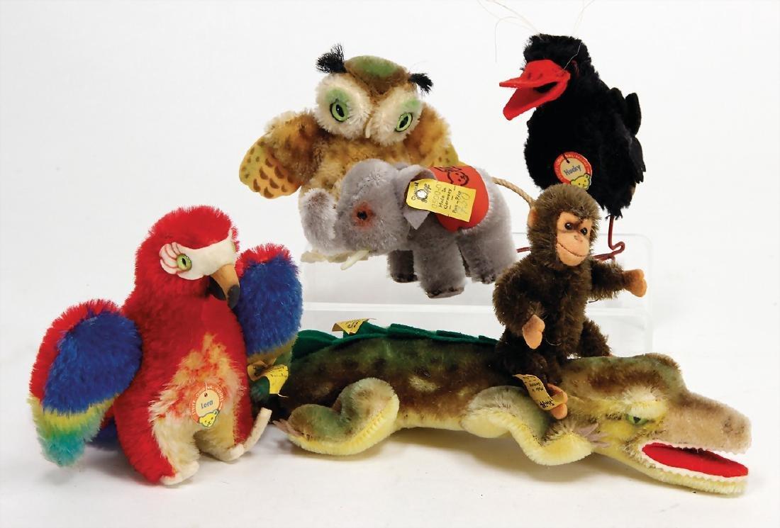 STEIFF 6 pieces, 1 Jocko monkey, complete, Witti owl,