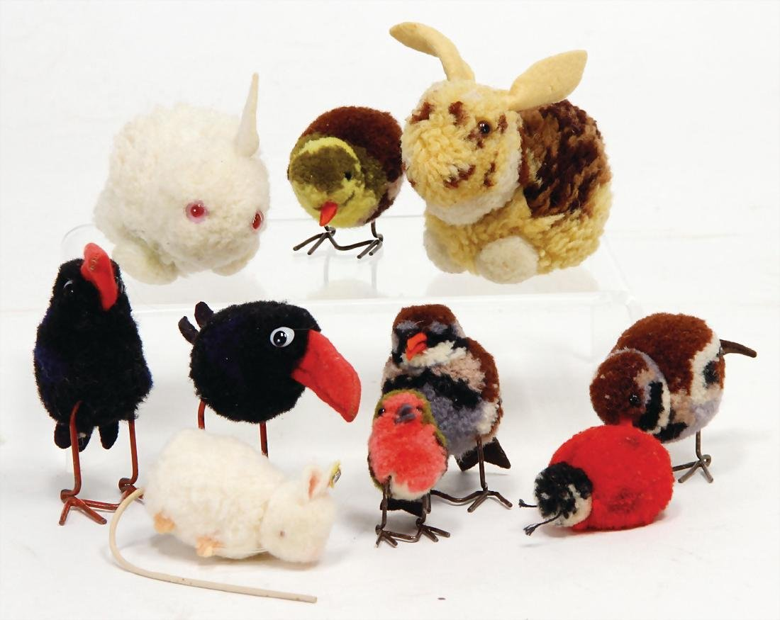 10 pieces wool miniatures, mostly pre-war era, mouse,