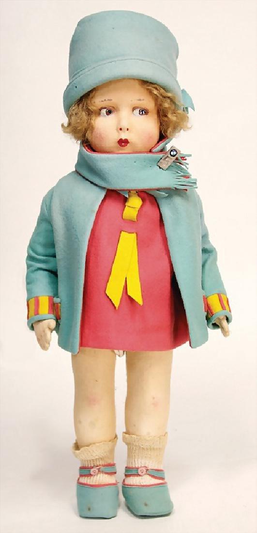 felt doll, Italy, type Lenci, 50 cm, original felt
