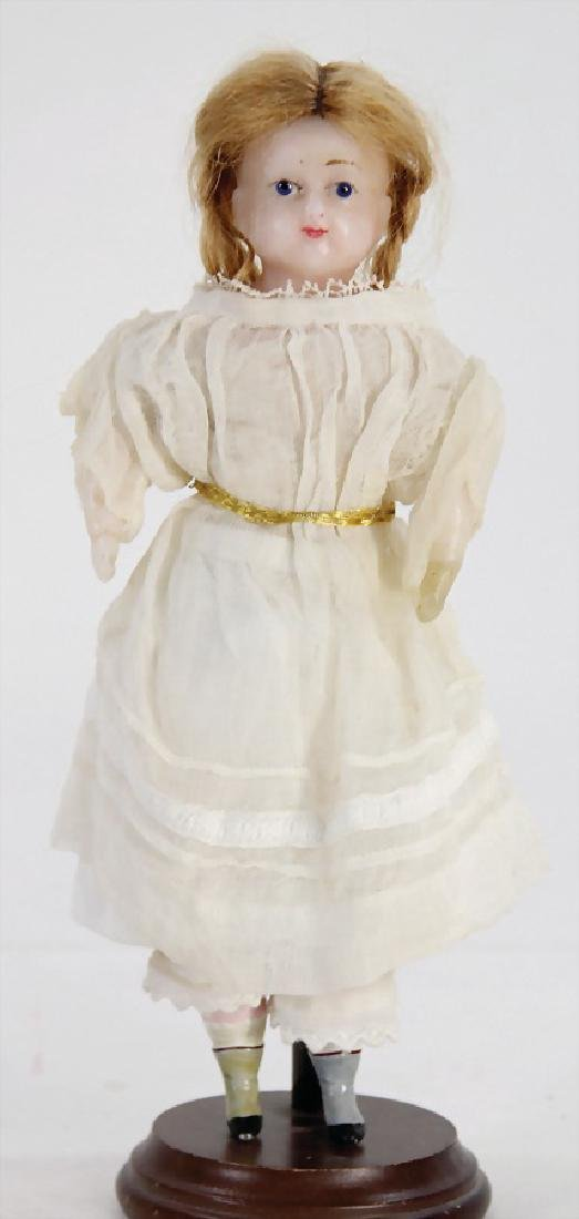small wax shoulder headed doll, 22 cm, blond mohair