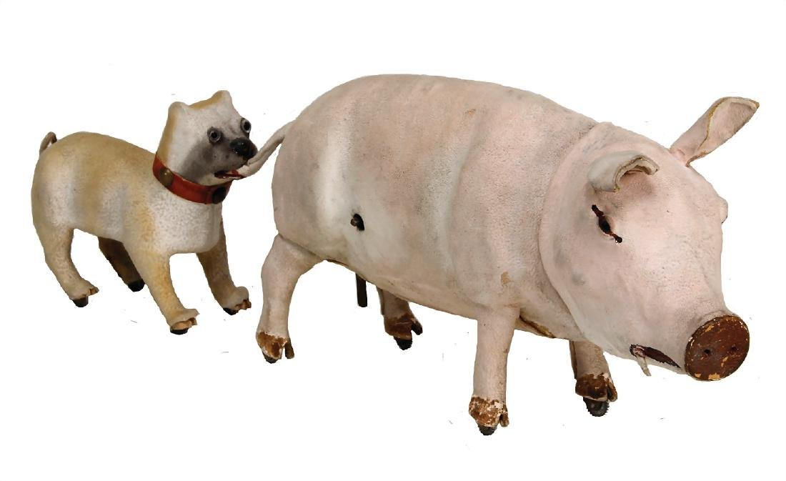 machine, grunting pig, with dog pulling on tail, papier