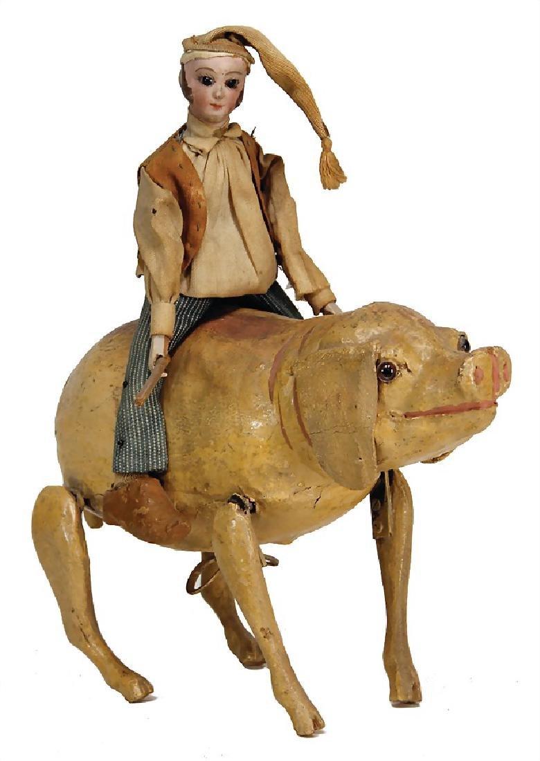 pig rider, c. 1890, jumping papier mâché