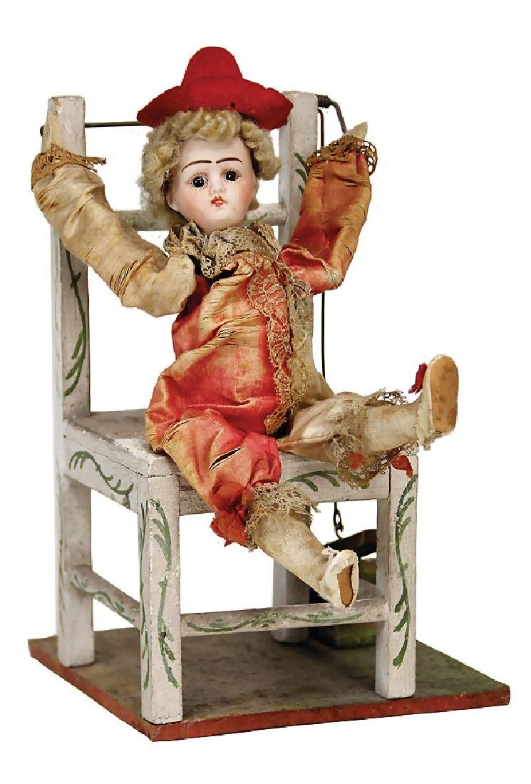 clown on a chair, 25 cm, voice with bellows, France,