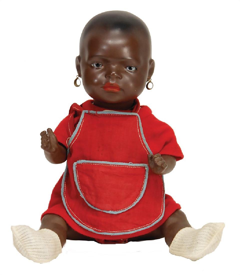 HEUBACH 399, doll with colored squirted porcelain head,