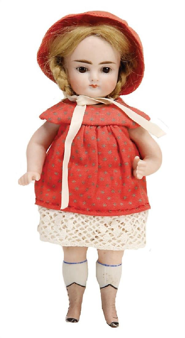 small all-bisque doll, 19 cm, socket head, brown fix