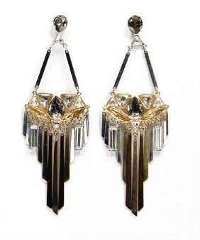 SWAROVSKI earring, Swarovski crystals, golden and