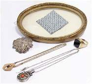 mixed lot, art nouveau, 1x tin brooch, 2 chains, with