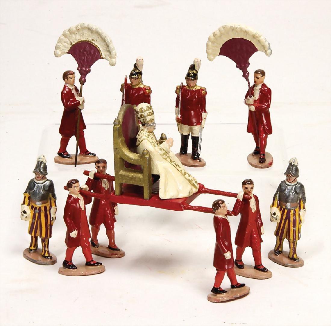 Vatican scene, metal casting, 6 cm figures, 2x Swiss