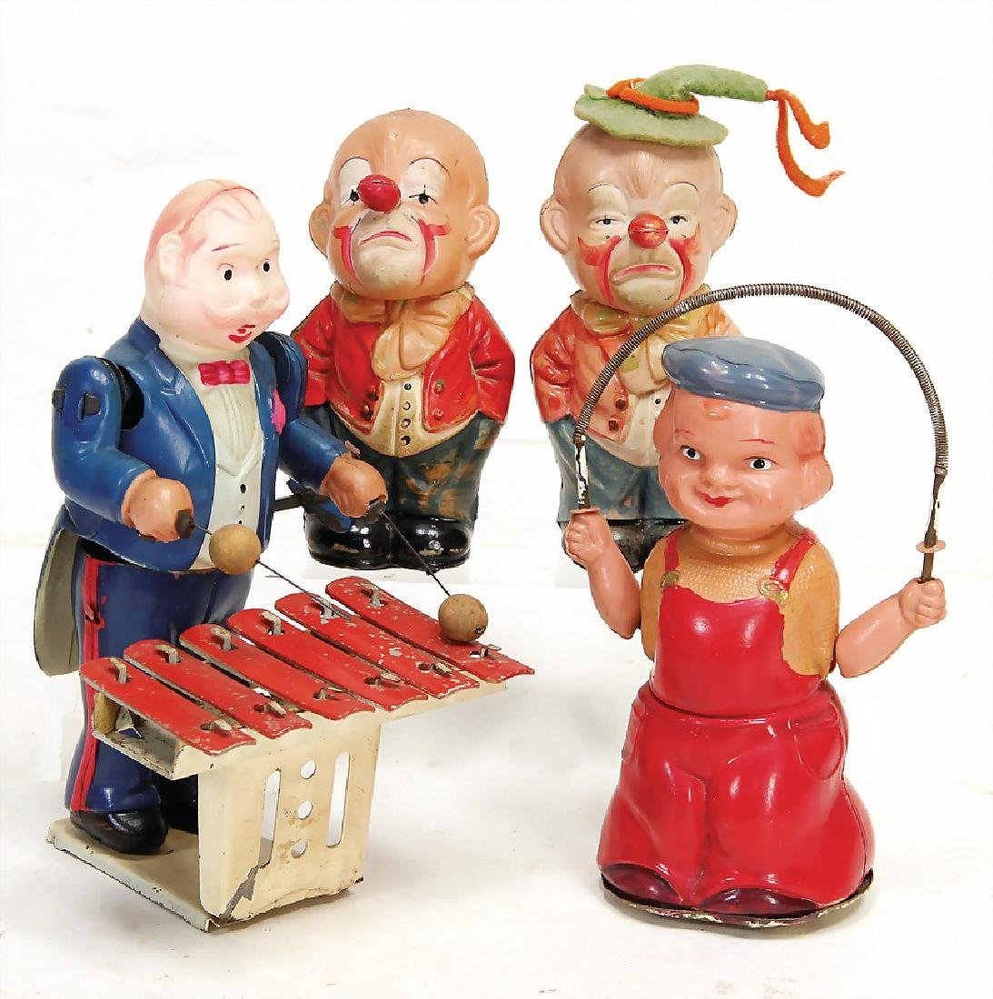 4 pieces, celluloid, Japan, man at the xylophone, 15