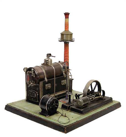 BING steam engine, lying boiler, surface area 47x52 cm,