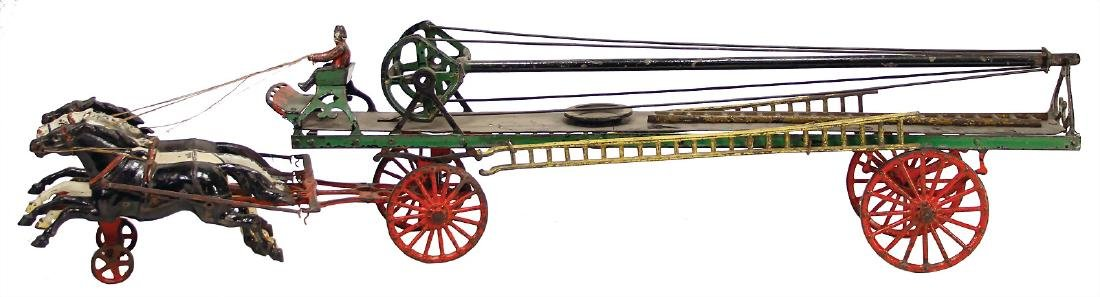 horse-drawn fire engine, casting, USA, c. 1910, lenght: