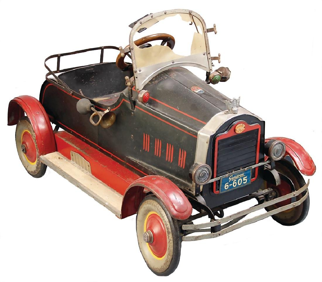 pedal car, c. 1920, Gendron, handpainted sheet metal,