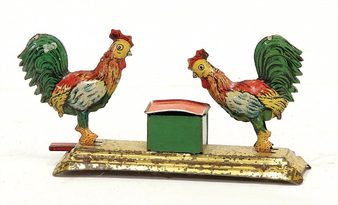 PENNY TOY pecking chickens, lithographed sheet metal,