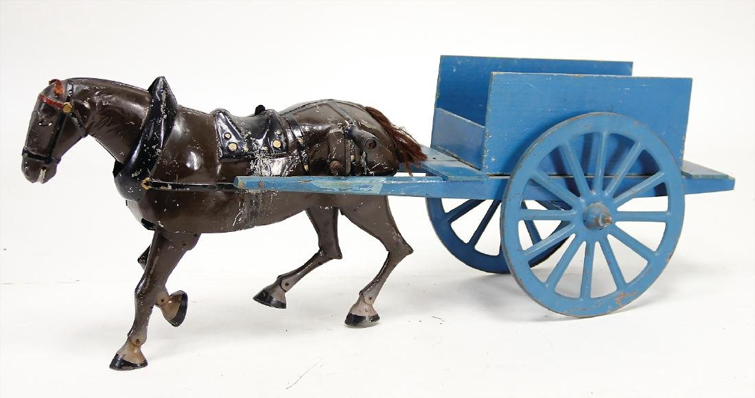 realistically running horse, sheet metal, with wooden