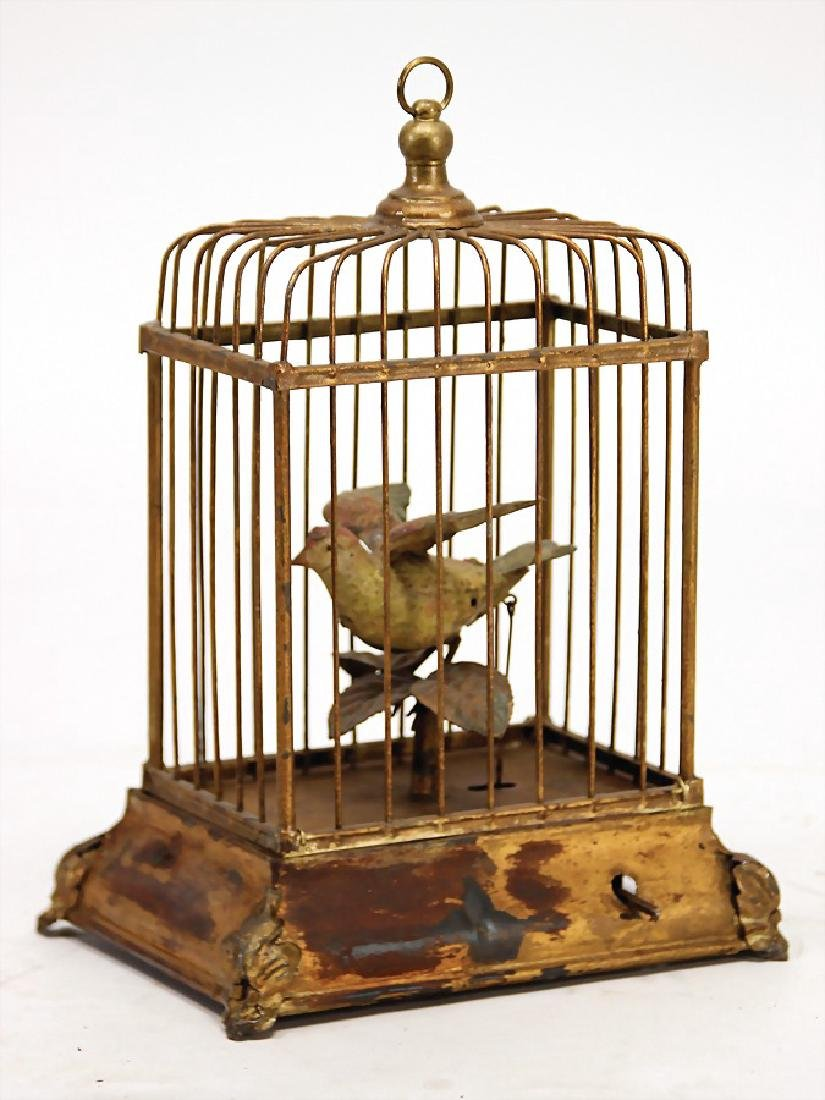 birdcage with songbird, sheet metal, handpainted,