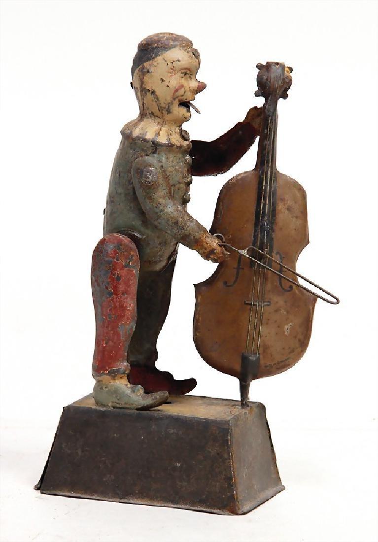 clown, musician, sheet metal, handpainted, 23 cm, clock