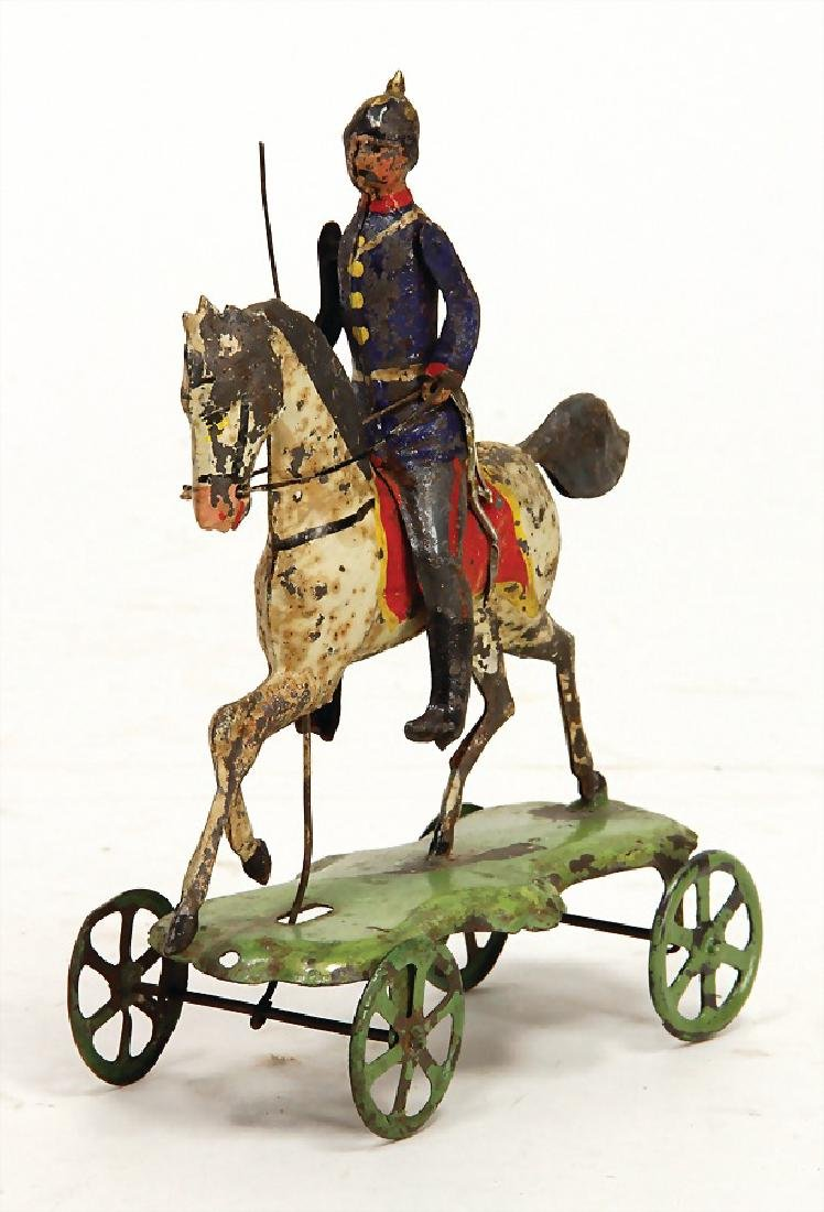 toy, Prussian soldier, handpainted sheet metal, 16.5