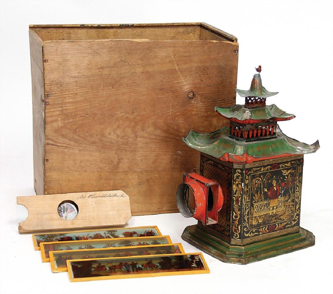 ERNST PLANK Laterna Magica, Chinese Pagode, 1878, in