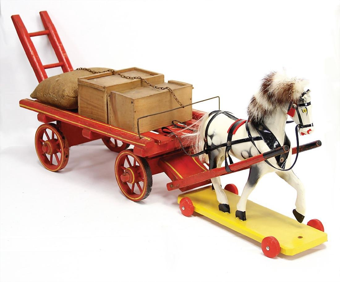 cart with draft horse, 65 cm, wood colored frame, the