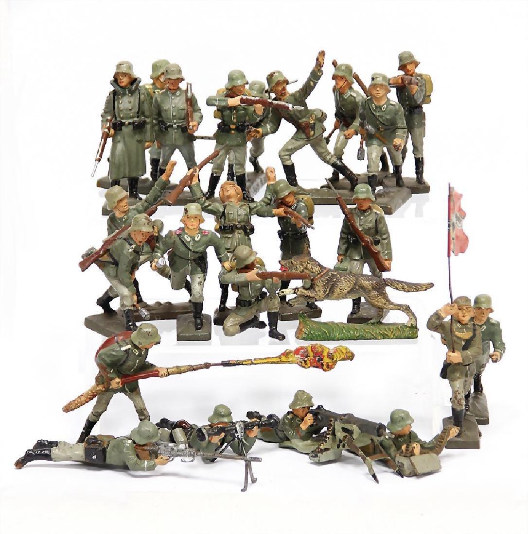 LINEOL Second World War, c. 60 pieces, mass, fighting,