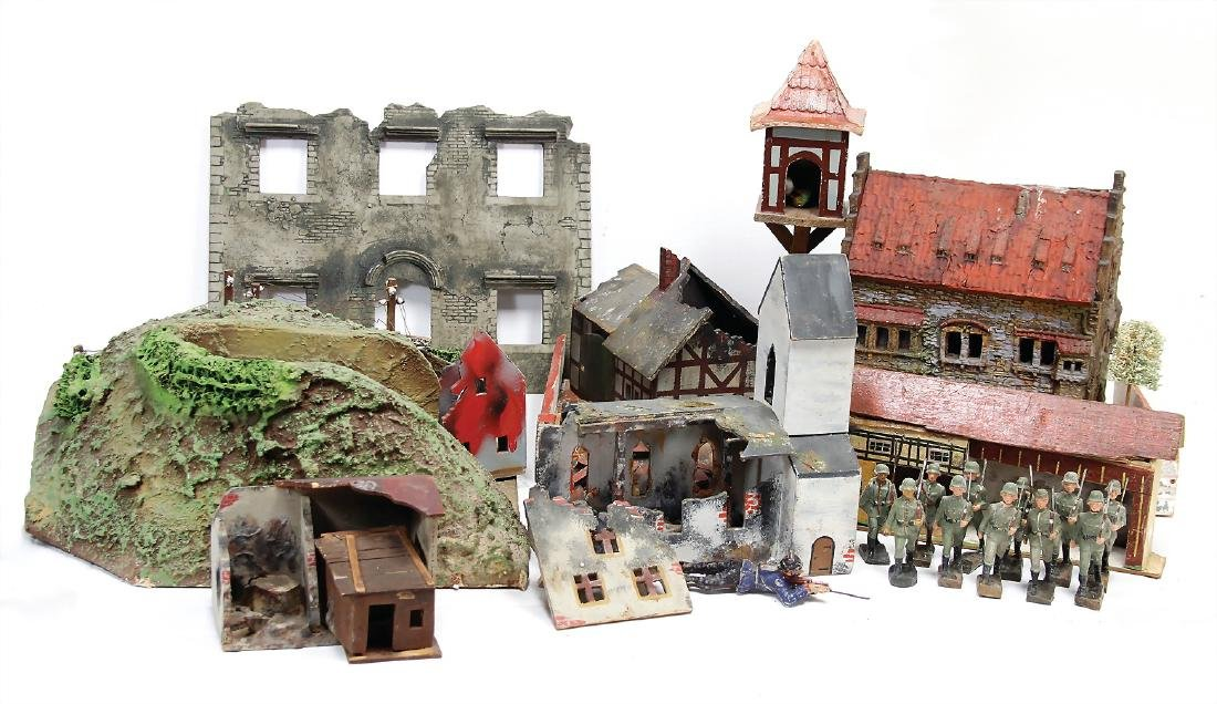 treasure chest, ruins parts, burned-out house, church,
